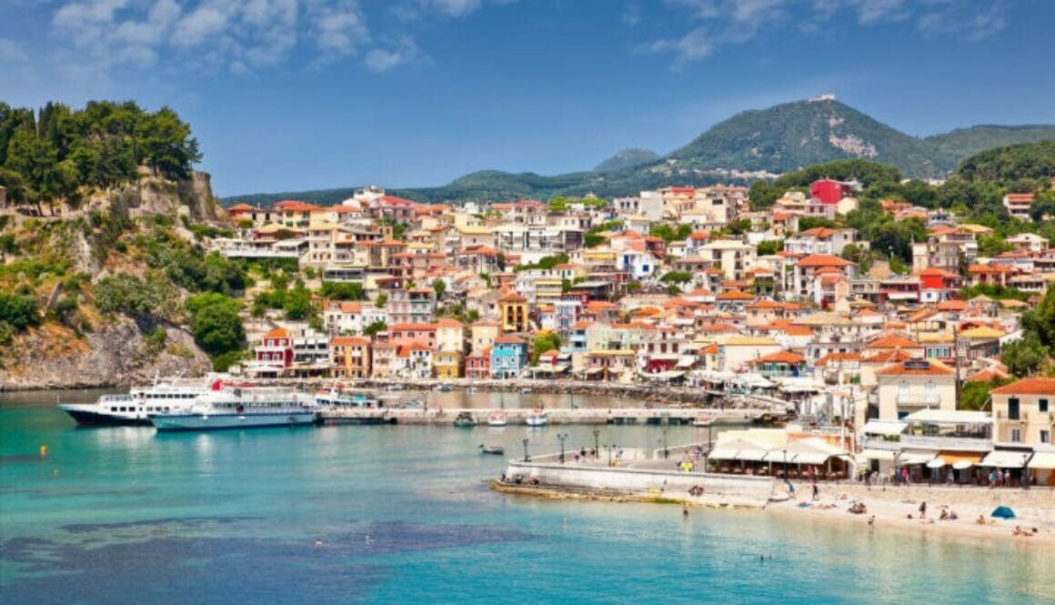 Beautiful panoramic view of Parga port and houses colors, Greece.